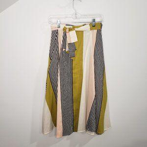 Modcloth Retro High Waisted Color Block Midi Skirt